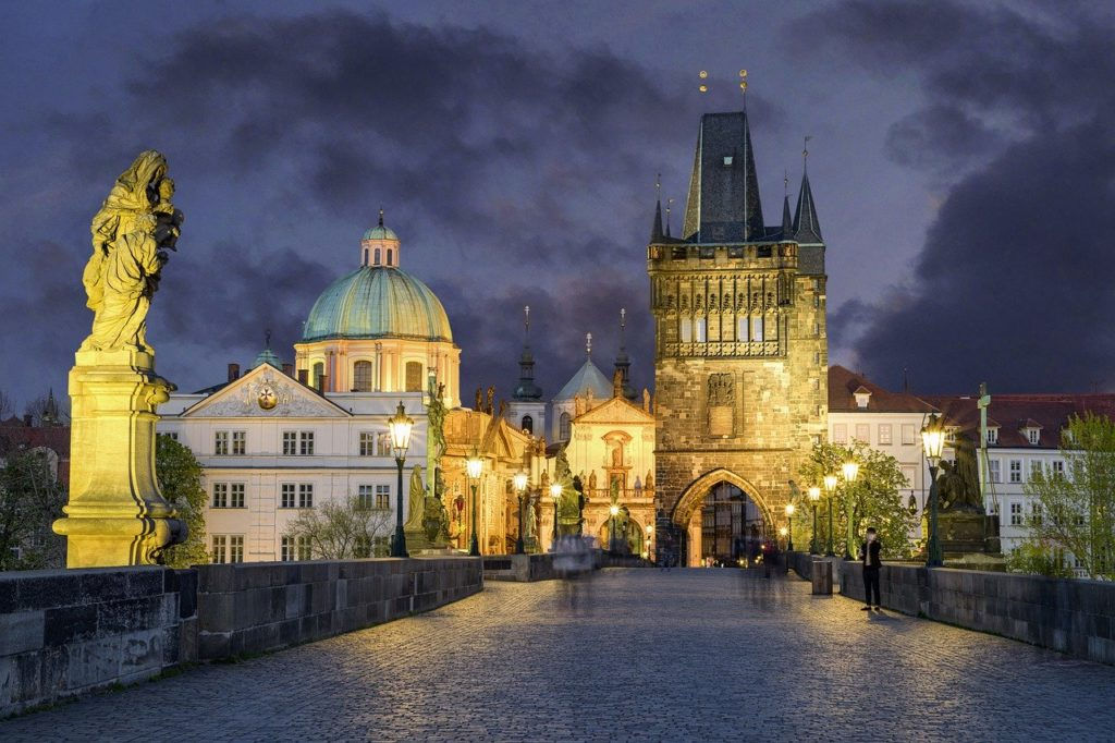 charles bridge, prague, twilight